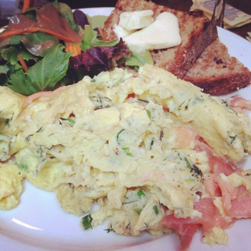 Weekend brunch at Mud: smoked salmon, dill, scallion, and goat cheese scramble