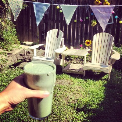 Mmmmm #green #smoothie in my #garden - #chia #protein #almonds #bananas #hempseeds #honey  (Taken with Instagram at Secret Garden)