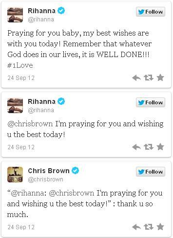 Rihanna tweets at Chris Brown before a court determines whether he violated the terms of his probation for assaulting her in 2009. No words. (Some words.)