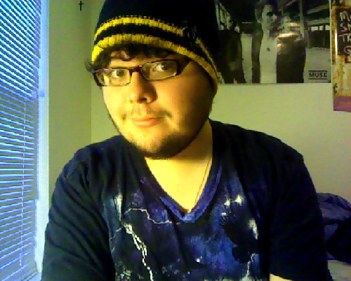 I found a hat! I cleaned it this time before I put it on though.  It's okay, it only has two holes on top of it.