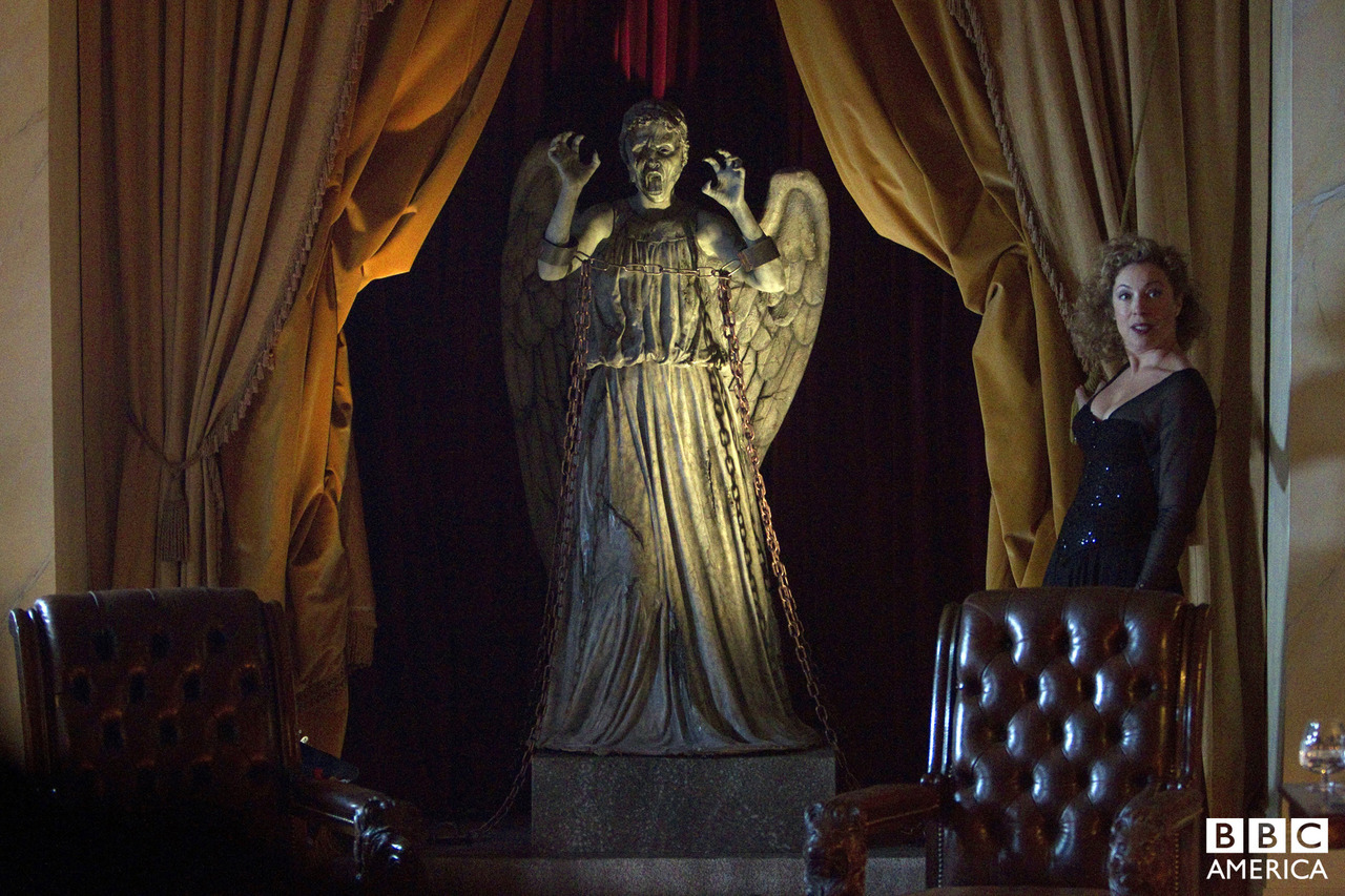 "doctorwho:  Weeping Angel From this Saturday's Fall season finale of Doctor Who, ""The Angels Take Manhattan""  Wow, you go River. You actually chained an angel??"