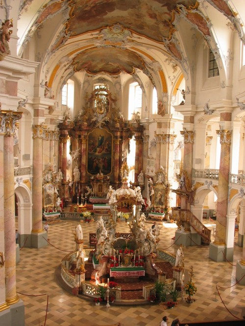 signorcasaubon:  Basilika Verzehnheiligen (Basilica of the Fourteen Holy Helpers); Bad Staffelstein, Bavaria, Germany; masterpiece of the eminent architect and engineer, Johann Balthasar Neumann. According to tradition, the Fourteen Holy Helpers was a group of saints invoked during times of great need. Their cult reached a high point in Germany at the time of the Black Death.