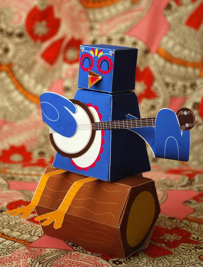 littlegamgee:  Banjo Bird- September's paper toy. If you want to have a go at making this little fella then head to my website for a FREE printable download