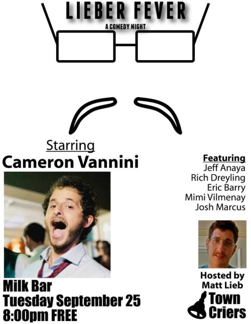 Tonight: Cameron Vannini @ Milk Bar. 1840 Haight St. SF. Free. 8PM. Featuring Jeff Anaya, Richard Dreyling, Eric Barry, Mimi Vilmenay, and Josh Marcus. Hosted by Matt Lieb.