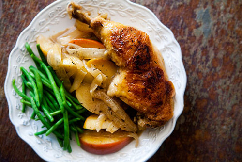 My fave for fall. (via Chicken Normandy, Chicken with Apples, Brandy, Onions and Cream Recipe | Simply Recipes)