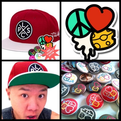 timothydelaghetto:  POW!!! LovePeaceSkeetCheese SNAPBACKS now available at RodeoArcade.com! Comes with free button and sticker!  (Taken with Instagram)