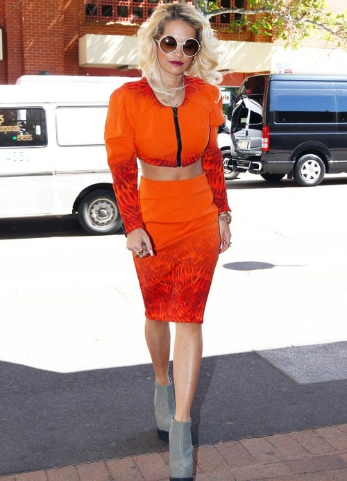 Splurge: Rita Ora's Sydney Mark Fast Spring 2012 Cropped Bomber, Pencil Skirt, and Senso Diffusion Zeno Platform Wedge Ankle Boots