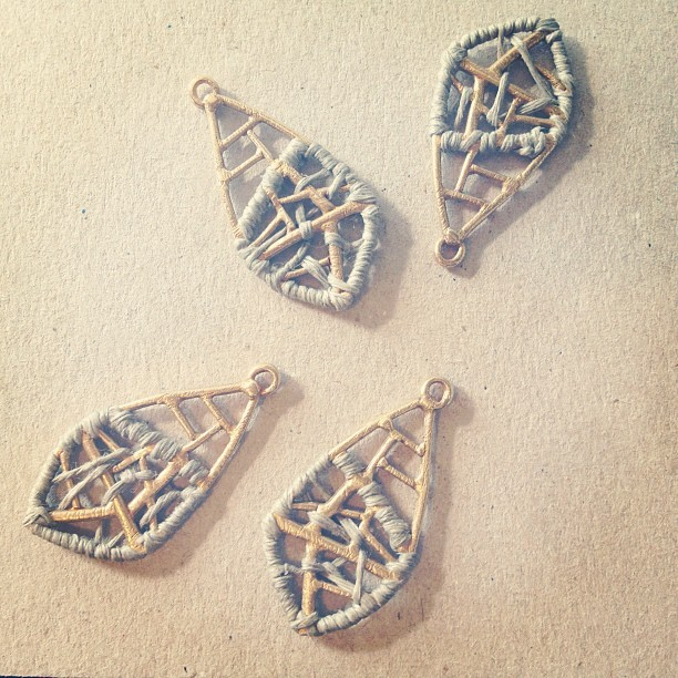 ….available at EWANIKA now. erinconsidine:  Wrapping Retia earrings (Taken with Instagram at EC studio)