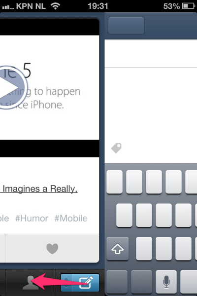 littlebigdetails:  Tumblr iPhone app - If you swipe the edit button to the left you can create a new text blogpost. (and if you swipe it upwards you can make a photo blogpost)/via Robin van 't Slot   지금까지 텀블러 앱에 이런 기능이 있는지 몰랐음;;