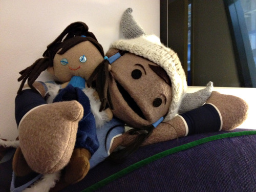 bryankonietzko:  Lauren Montgomery's mom made us these awesome Korra dolls, which my Korra puppet has claimed as her own.  Yay the Appa hat has made another appearance!