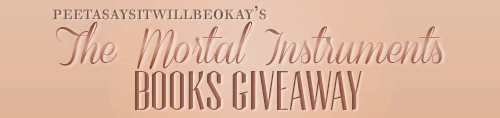 peetasaysitwillbeokay:  I'm giving away my TMI books because I'm not that interested in them anymore and I think they should go to someone who truly loves the series This giveway includes all the books of the series - except the last one since it is still being written These are hardcover books They are in a very good state, I only read them once so they're basically brand new Rules: Reblog only once so everyone have the same chances (i'll check) Likes do not count You don't have to be following me but it's better if you want any updates on the giveaway Your askbox must be open by the time this ends. If it's not, I'll choose another winner You must reply to me within 3 days after I sent you the message. If you don't, I'll choose another winner I'll ship worldwide and pay for the shipping The winner will be chosen via a random generator This giveaway ends November 1st If you have any questions, just ask. Good luck :)