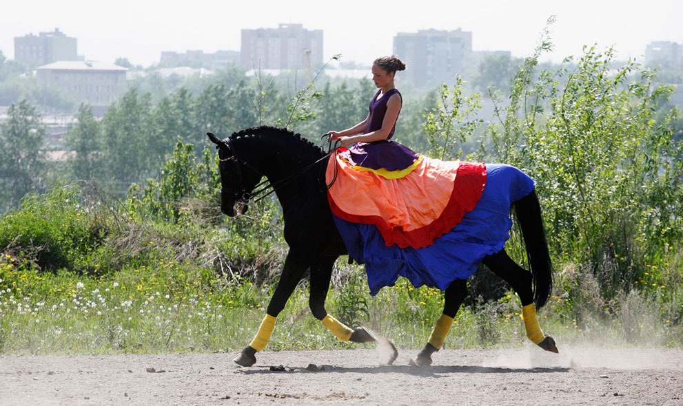 layered skirts in bright colors, horse not included (Krasnoyarsk, Siberia)