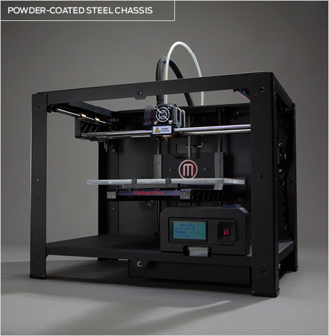 Back in black. Makerbot Replicator 2, can now print at 100microns, and has a larger build volume!