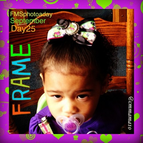 #Day25 of @fatmumslim 's #photoaday for #September is #frame. This is Mia sporting her #new #HelloKitty #bow 🎀, made by the #lovely @frankensteinsmonster619!!I thought this #FancyLittleFrame matched her #outfit and the bow #perfectly!!  (Taken with Instagram)