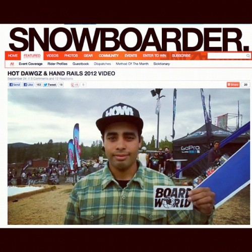 Go to @snowboardermag website and check out @durellwilliams and the rest of the crew at #hotdawgs&handrails (Taken with Instagram)