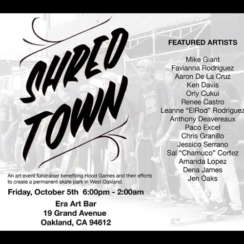 I'm curating this art show at Era Art Bar on Oct.5th for First Fridays! It's a fundraising event in support of Hood Games and their efforts to created a permanent skate park in West Oakland!!! Let's make this happen, it's for da children!!! @mexakitsch @ladyreniart @snapshotlopes @orlycukui @aarondelacruz @favianna1 @___tondar___ @chamuco510 @chrisgranillo82 #shredtown #oakland #era #hoodgames #supporttheyouth #skateordie #calmthefuckdownandskate #welovethekids #westoakland #townpark #skatepark #community #artshow  (Taken with Instagram)
