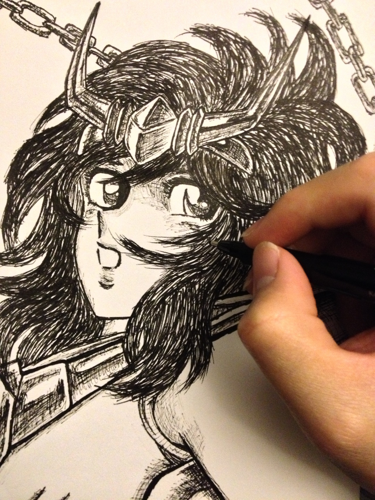 Sketching Andromeda Shun Here's one piece from my Saint Seiya portrait series. I have started to draw once a day…almost. It feels great to go back to basic. The textures and line quality produced by the ink pens are something that can't be achieved with a computer.