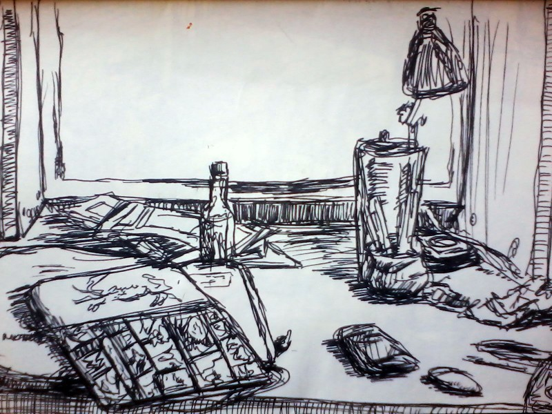 sketch of my old desk layout
