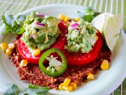 letthemeatvegancake:  Raw Vegan Spicy Tostada with Guacamole Recipe Here