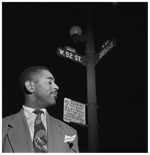 via Mingus->awareofthebear:  Dizzy Gillespie at the crossroads. NYC, 1948.  Coincidentally was browsing the shelves at the Brooklyn Public Library on Friday and came across this history of 52nd St:  View Larger Map