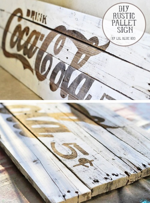 nights-in:  DIY rustic pallet sign, via Lil Blue Boo