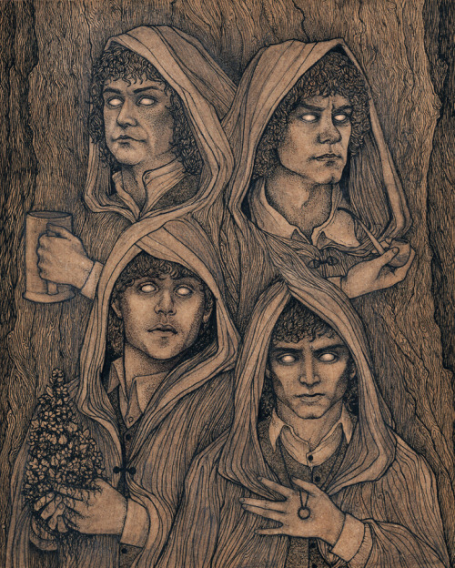 "bathsabbath:  ""Concerning Hobbits"" Ink. Virginia Giordano. Oh man. Finally done. Though I might do color washes later…So, the work of J.R.R. Tolkien is my life, and I'm constantly attempting to pay homage in my work. This time however, I felt like paying a little homage to Peter Jackson and the cast. I'm a huge fan of the movies and I don't really believe in the ""one or the other"" mentality. The piece in general is about Hobbits and their relationship with nature and their ability to remain unseen. I gave each Hobbit an item relating to the four elements, which also happen to reflect their personalities, for Pippin: Beer/Water, Merry: Pipe/Air, Samwise: Athelas/Earth, and Frodo: The One Ring forged in Fire."