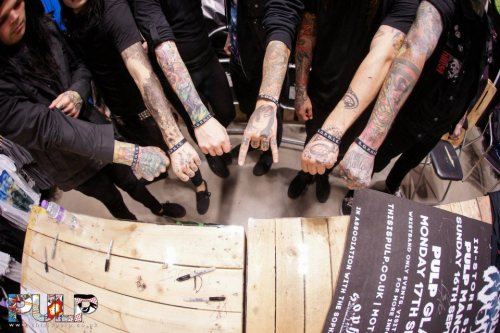 robert-carl94:  And this is why they are my heroes. Motionless In White wearing the S.O.P.H.I.E wristbands  And my love for Motionless In White has grown stronger<3