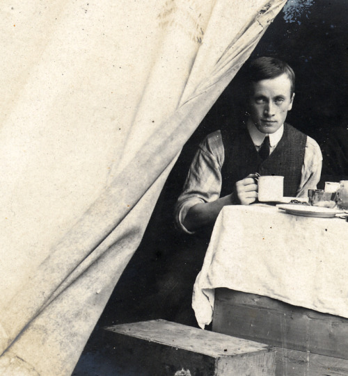 Camping in Edwardian times Found image. Tea time.
