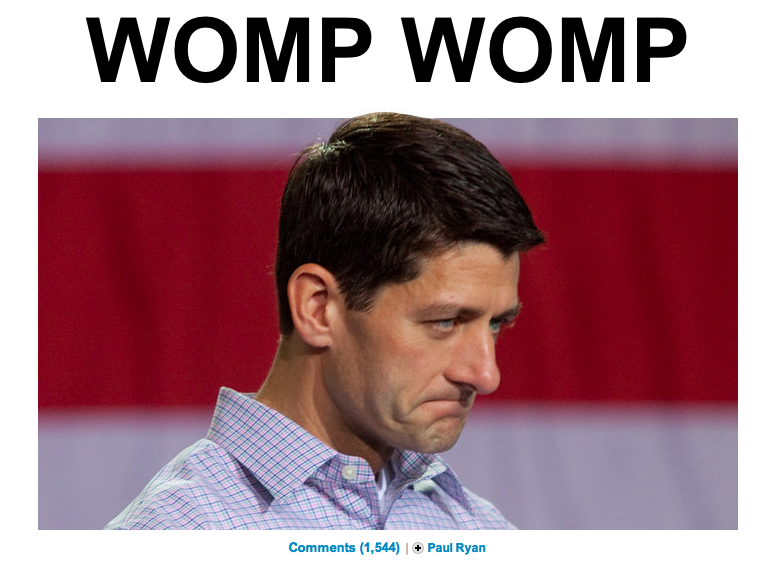 motherjones:  Huffington Post Politics, the meme guys.  Looks like he's getting scolded by his mom for trying to killing Medicare/Medicaid…