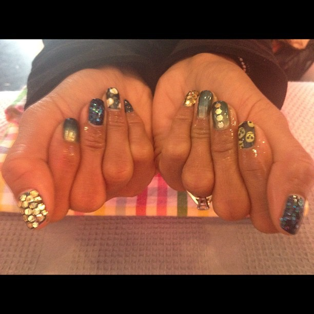 Amazing jewelled McQueen inspired fall mani with tiled disco ball accent nails!  On a new regular, @anitakawal!  #nailart  (Taken with Instagram at Pinky's Nails)