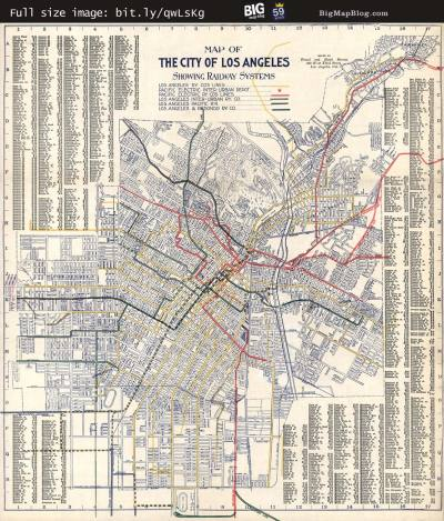 Map: Map of Los Angeles, California Rail Systems (1906) originally posted to the BIG Map Blog.