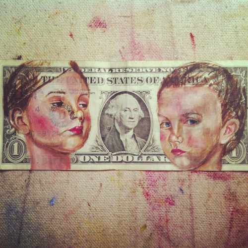 oil painted dollar by amy mcdonald