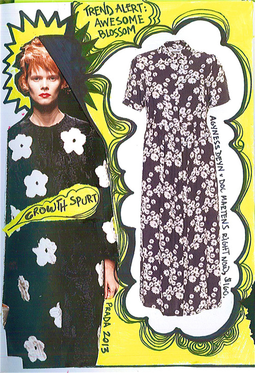 Trend Alert: Awesome Blossom.  #GrowthSpurt (Agyness Deyn x Doc Martens dress, $160.Prada Coat, Spring 2013, TBD.)