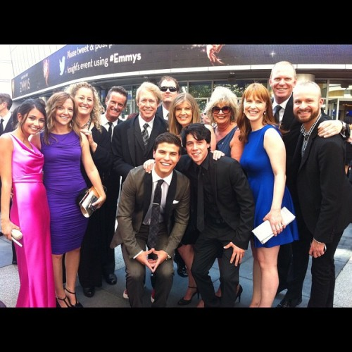 ramonabarckert:  Team Degrassi at the Creative Arts Emmys! (Taken with Instagram)  Brendon Yorke (sunglasses), Sarah Glinski (blue) and Ramona Barckert (purple) represented the Season 11 Writing Team in style!