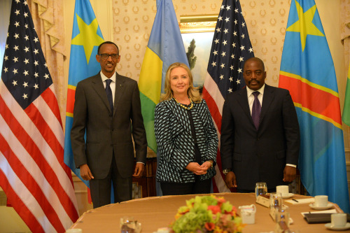 U.S. Secretary of State Hillary Rodham Clinton meets with Congolese President Joseph Kabila and Rwandan President Paul Kagame in New York, New York on September 24, 2012. [State Department photo/ Public Domain]