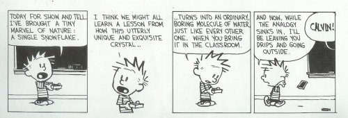 Calvin has some deep insights into our educational system.