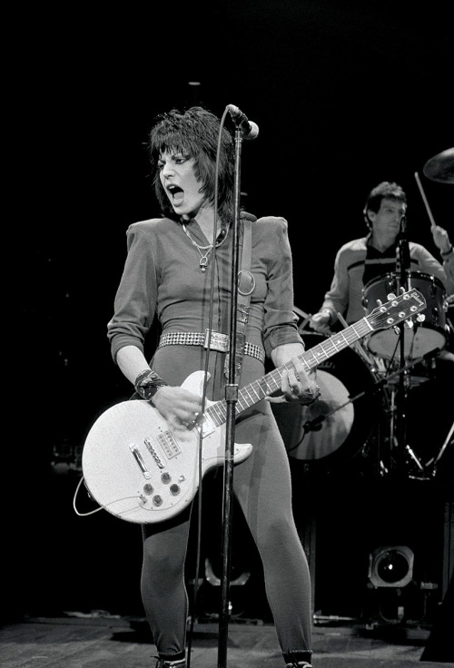 Joan Jett on stage at the Hammersmith Apollo, 1982.