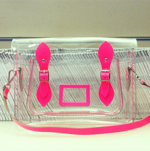teenvogue:  Inside Teen Vogue: Lucite Cambridge Satchel with neon pink accents