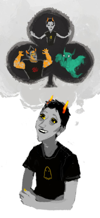hk-homestuck:  I didn't want to do homework so i drew troll-me instead!!