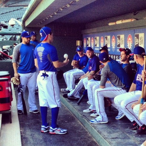 Rangers in the dugout before BP.