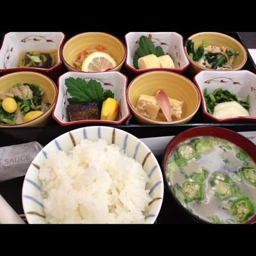 Japanese meal on Japan Airline. (Taken with Instagram)