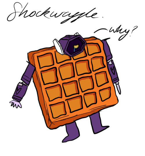 breadwing:  Shockwaffle is crying because he is a waffle and had to forgo his magnificent bust. (Thanks person in Kashi's stream for giving me the idea) WeinerscreamCakedownPizzatronAuberginewave  OMG THIS IS TOO CUTE