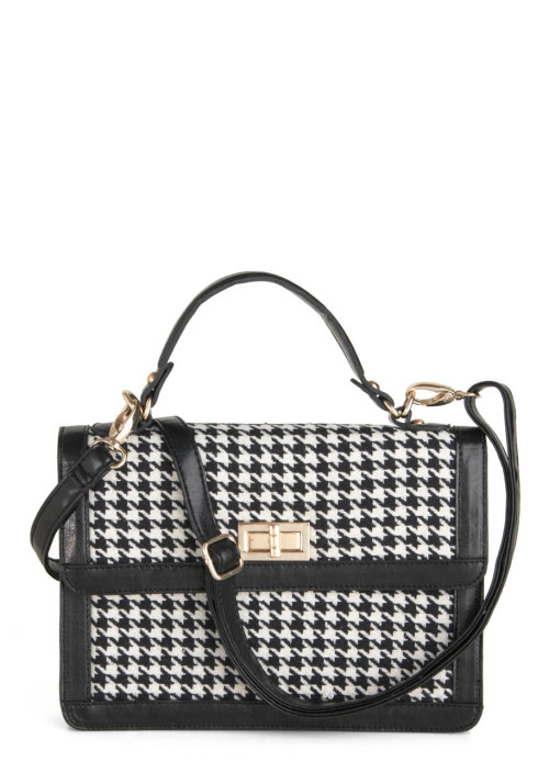 modcloth:  I'm in full-on love with this houndstooth bag. I'd wear it as a cross-body purse with just about everything in my wardrobe — I mean, just look at that clasp. Look. At. It! - Guest Editor from Rookie, Contributor Amy Rose Spiegel