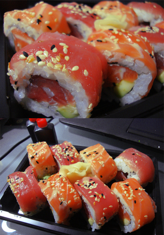 Rainbow Sushi menu picture that I took long long time ago.It's 1AM and I'm craving for some sushi … Gawww (;;´・ω・`;;) fml