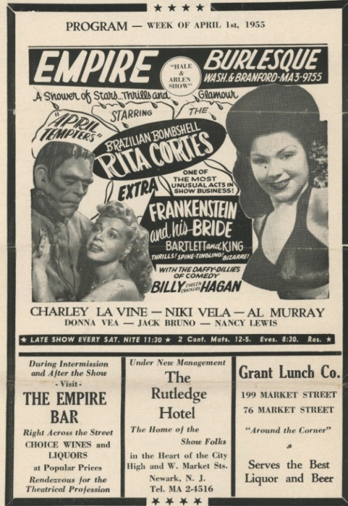 "burlyqnell: April 1955 program ad for the 'EMPIRE Burlesque Theatre', featuring ""Brazilian Bombshell"" Rita Cortes.. As well as Bartlett and King! Comedian Billy ""Cheez'n Crackers"" Hagan provides the laughs.."