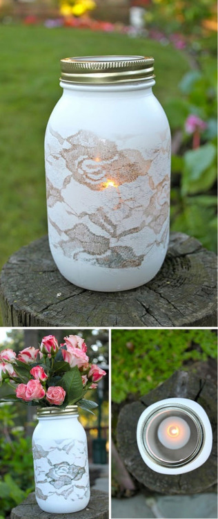 shsp:  Spray painted over lace mason jars