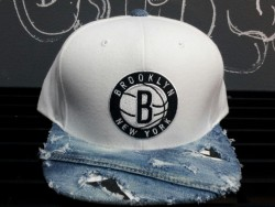 creativeplayers:  BrooklynNetsxDenim  $150.00 1of1 #ClickPurchaseTab   CreativePlayers specialiZes in Cut&Sew distortions of authentic Mitchell and Ness snapbacks.