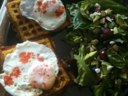 092512: Dinner: Cornbread Waffles + Salad: cornbread batter (click for recipe approximation) + cheddar cheese shreds + green chile, cooked in a waffle maker. Topped with 2 farm eggs over medium and paprika. Salad: farmers' market lettuce mix, raspberries, blueberries, goat cheese crumbles, avocado, sliced almonds, spinach, homemade balsamic fig dressing.