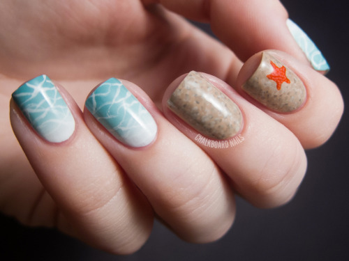 chalkboardnails:  Beauty and the Beach These nails are an entry for the Travel Supermarket Beauty and the Beach competition. China Glaze For AudreyOPI Alpine SnowIt's So Easy Stripe Rite in whiteOPI Don't Pretzel My ButtonstheBalm Orange You Glad You're Not Blue?White and black (mix ins)