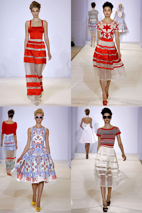 journaldelamode:  London Fashion Week, Temperley London SS 2013 Models: Irina Nikolaeva, Lina Zhang, Hannah Hardy, Amanda Hendrick